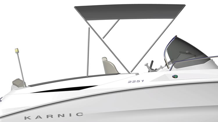 Bimini top, full beam, gunwale mounting