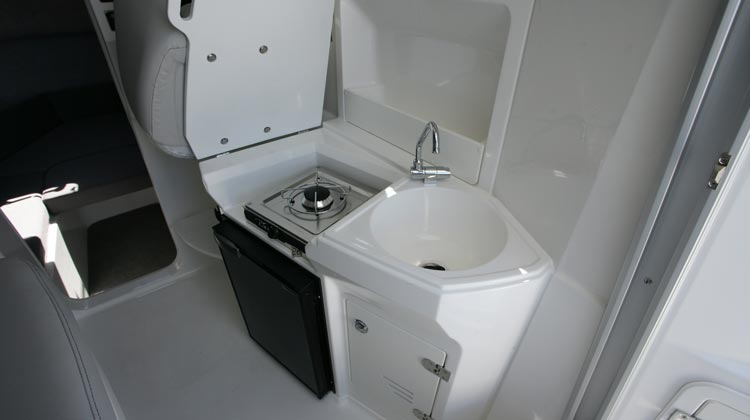 Galley with sink, storage lockers and dedicated space for refrigerator and gas stove installation