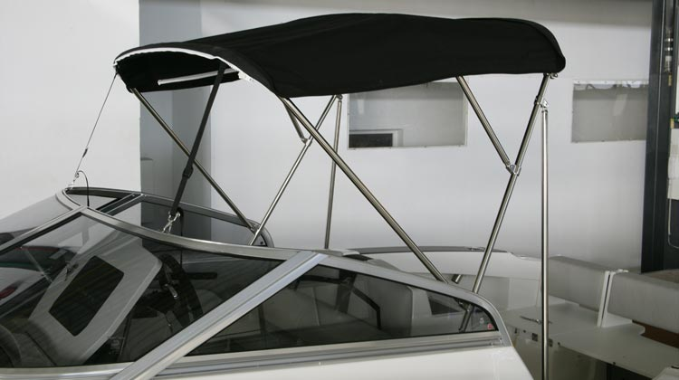 Bimini top, stainless steel frame