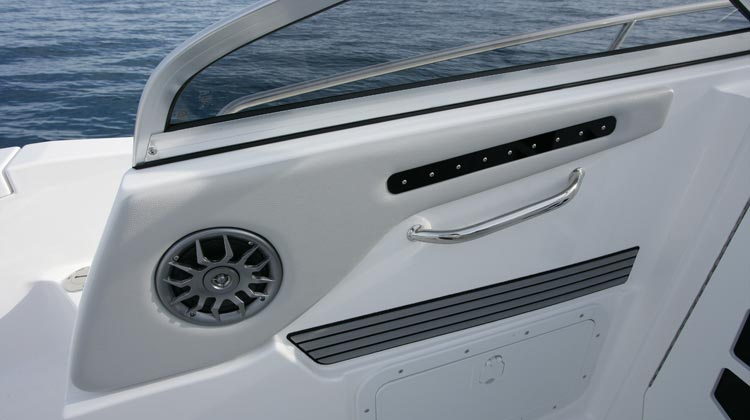 Recessed, weather protected marine grade cockpit speakers