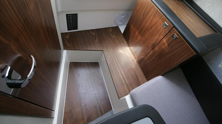 Real walnut cabin floors and interior