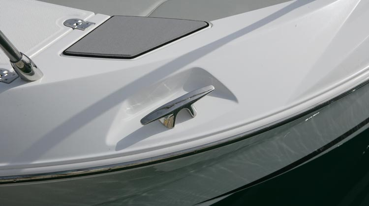 Recessed installation of heavy duty styled cleats at bow and stern