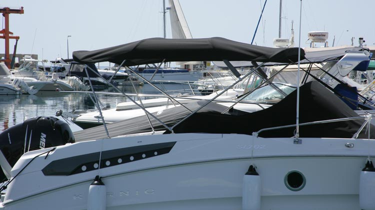 Bimini top, full beam extended version, gunwale mounting