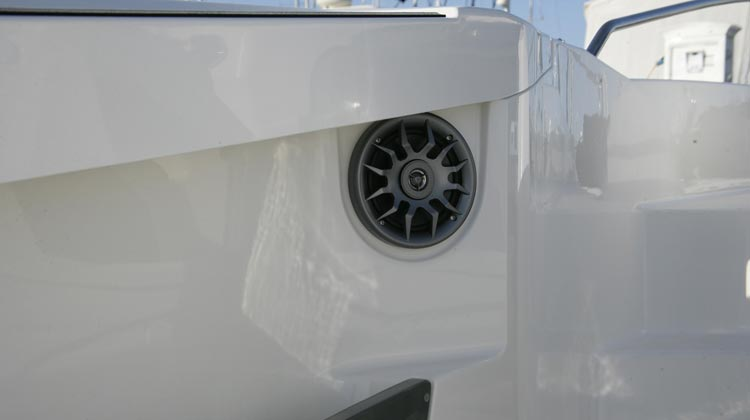 Recessed, weather protected marine grade cockpit speakers at bow and cockpit