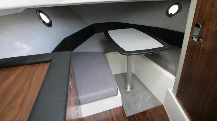 V-berth cabin accommodation for two adults with ventilation portlights