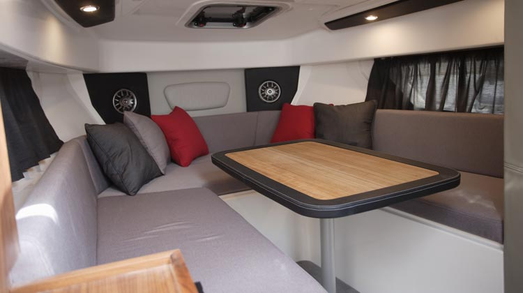 Cabin dinnete sits 5 adults and is easily convertible to ultra large berth (2.07m x 1.80m)
