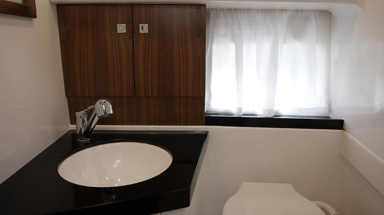 Shower-toilet compartment with Corian sink top, cabinet, undr sink locker and lockable door