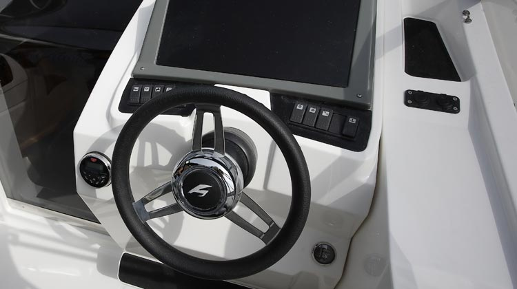 Marine grade electrical switches, compass, 8-speaker media/receiver with Bluetooth, USB and 12V sockets