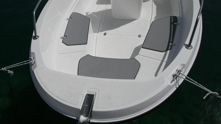 SeaDek padding on bench hatches and seats
