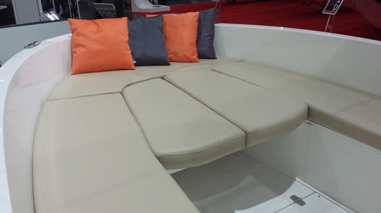 Cushions for seats and benches with possibility to convert bow to sunbed or dining area with table